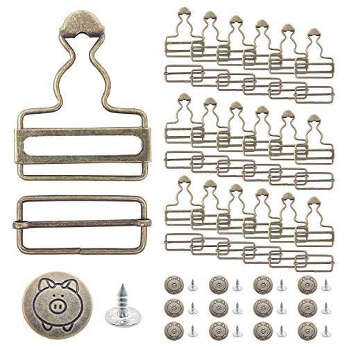 N+A 20 Stück Latzschnallen aus Metall, Schnallen aus Metall, stilvoll und langlebig mit Rutschverschluss, einfach die Länge des Riemens einzustellen