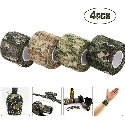 AUVSTAR Camo Tape Stoff, Camouflage Tape Wrap,Selbstklebende Schutz Camouflage Tape Wrap Tactical Camo Form Multi-funktionale Non-Woven Stoff Stealth Tape Stretch Verband für