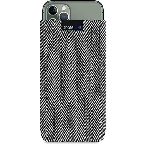 Adore June Business Tasche kompatibel mit Apple iPhone 11 Pro Handytasche aus charakteristischem Fischgrat Stoff - Grau/Schwarz, Schutztasche Zubehör mit Display Reinigungs-Effekt