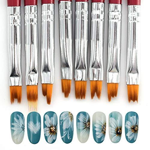 WEILUSI Nagel Pinsel Set 8-teilig UV Gel Nail art Pinsel Nageldesign Stifte Nailart Nagelzubehör für UV-Gel- und Acrylfingernägel