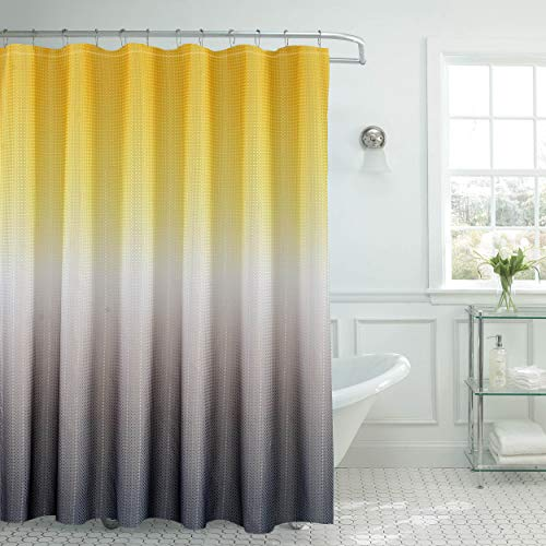 "Creative Home Ideas Ombre Shower Curtain Set, 70""x72"", Yellow/Grey"