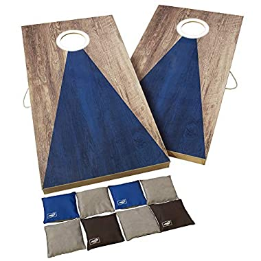 Triumph Sports 2×4 and 2×3 Solid Wood Premium Cornhole Sets – LED Options Available – 8 Bean Bag Toss Bags and Cornhole…