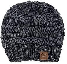C.C Trendy Warm Chunky Soft Stretch Cable Knit Beanie Skully, Dk Melange Gray Metallic