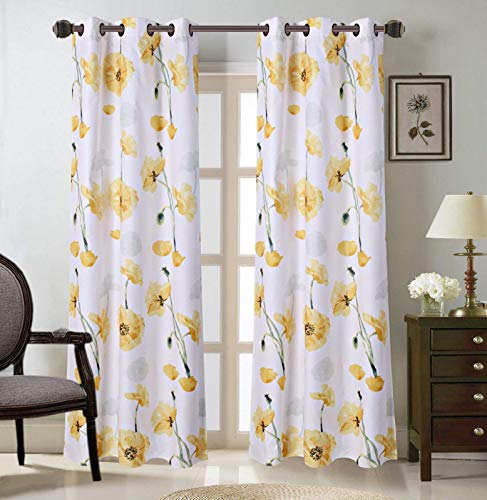 """LinenTopia 2 PC Grommet Curtain Panels 26""""Wx36""""L,Decorative Floral Design Print,Light Filtering Room Darkening Thermal Foam Back Lined Curtain Panels for living/bedroom room/patio door(Madi,36,Yellow)"""