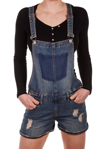 Sublevel Damen Jeans Latzshorts LSL-337 Overall Kurze Hose Destroyed Dark Blue S