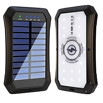 Solar Power Bank, Wireless 15000mAh Portable Charger External Battery Pack Qi Solar Phone Charger with 20 LED Flashlights and Dual USB Outputs Compatible with iPhone, iPad, Samsung and More