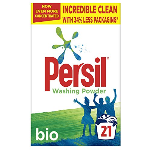 Persil Bio Stain Removal First Time Fabric Cleaning Washing Powder 34 Percent Less Packaging* 21 Wash 1.05 kg (Pack of 4)