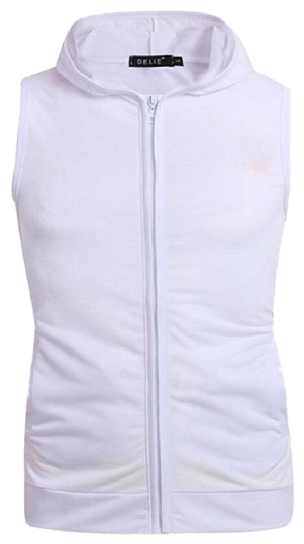 maweisong メンズ?シャツ、ノースリーブのトレーニングパーカージップアップベストタンクトップ White XXL