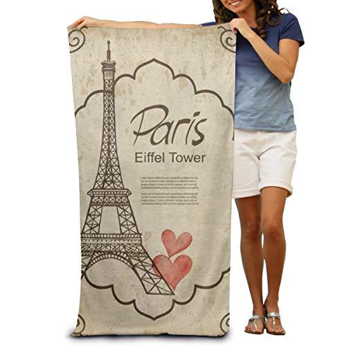 jhgfd7523 Toalla de baño súper suave Torre Eiffel Corazón Damasco Toalla de playa de secado rápido Manta de viaje Toalla de Spa de natación Tamaño grande 31 pulgadas x 51 pulgadas