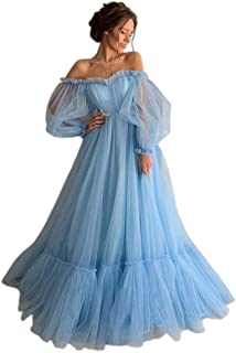 Jonlyc Charming Off The Shoulder Puffy Sleeve Tulle Long Prom Dress A Line Pleated Evening Gowns