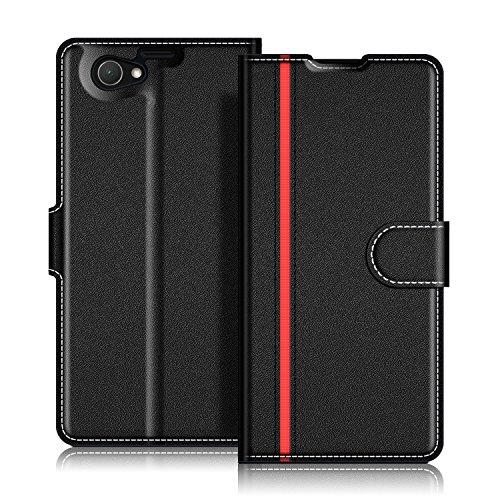 COODIO Handyhülle für Sony Xperia Z1 Compact Handy Hülle, Sony Xperia Z1 Compact Hülle Leder Handytasche für Sony Xperia Z1 Compact Klapphülle Tasche, Schwarz/Rot