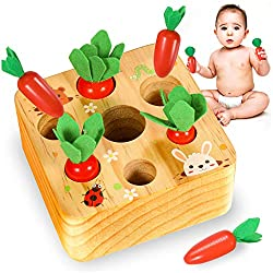 YOFUN Montessori Toys for Toddler - Carrot Harvest Wooden Matching Puzzle