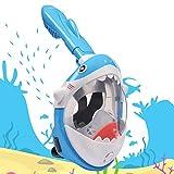 Maschera Snorkeling, Full Face Maschera da Snorkeling Antiappannamento Maschera Subacquea Forma di Squalo Maschera Snorkeling Integrale 180° Vista Panoramica per Bambini