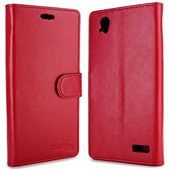 Warp Elite Wallet Case CoverON [Executive Series] Synthetic Leather Flip Folio Cover Pouch LCD+Stand Case for ZTE Warp Elite - Red