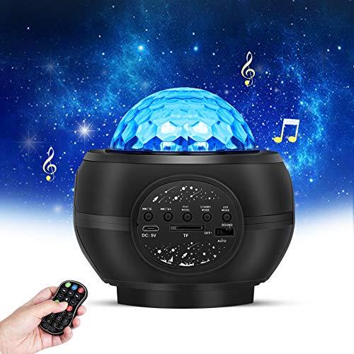LED-Sternprojektorlampe, LED-Sternprojektor mit Bluetooth-Lautsprecher, Fernbedienungs-Nachtlichter mit Wasserwelleneffekt für Weihnachten Ostern Halloween-Party für Kinder und Erwachsene