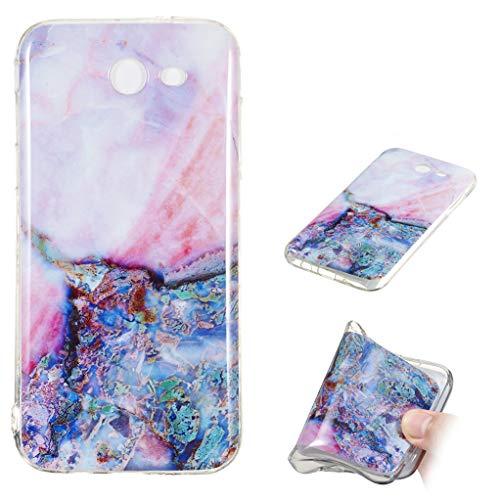 Yunbaozi Funda Mármol Samsung Galaxy J7 2017 US Carcasa Suave Silicona Marble Case IMD Piedra Anti-Rasguños Anti-Huella Digital Patrón Geometric Granito, Mármol ámbar Púrpura