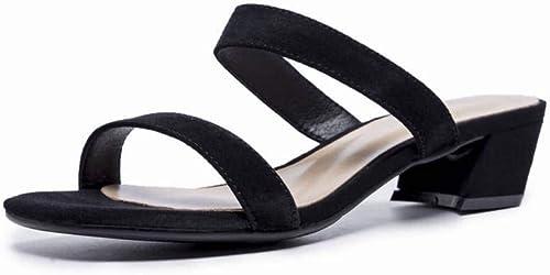 TFTORY Sandales Femme été Noir Mot Talon Haut avec des Chaussures à Bout Ouvert épais avec des Sandales Chaussures Femme Romaine, noir, 37