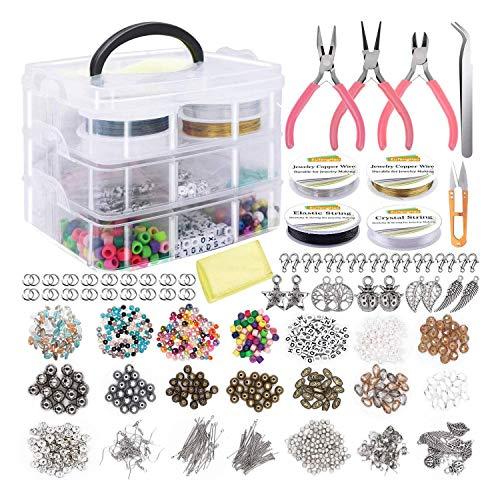 Katigan El Kit de Herramientas para Hacer Joyas de Bricolaje Incluye Cuentas, Hilo de Cristal, Perlas, Cuentas Espaciadoras para Pulseras, Collares, Pendientes