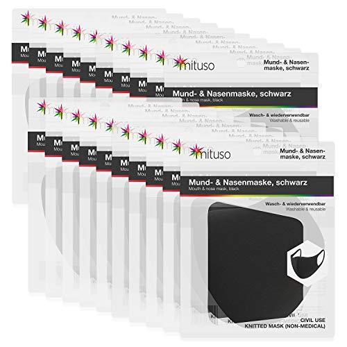 mituso Mund- und Nasenmaske aus Polyester, Wiederverwendbare Maske (20 Stück, schwarz)