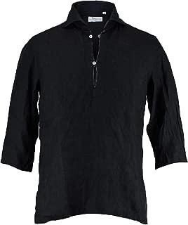 [Mario Muscariello マリオムスカリエッロ]メンズ リネン 七分袖 カプリシャツ CAPRI 3/4 WASHED R2MC148(ブラック)