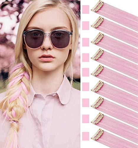 FYHTSD 9PCS 21 pulgadas Rosa claro Accesorios de moda Piezas de peluca para niños Extensión de cabello de colores Múltiples colores Fiesta Haightlight Síntesis postizos coloridos