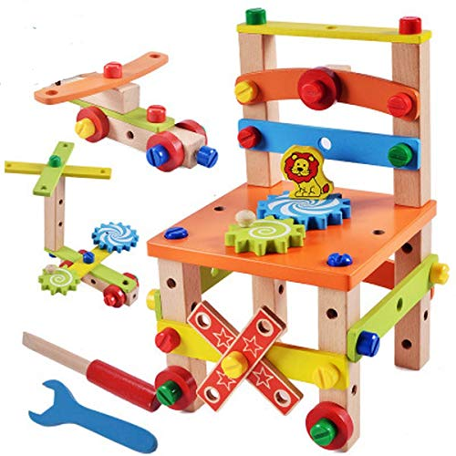 Lalia Werkbank aus Holz für Kinder ab 3 Jahren. 30x20x20cm 100{d982a505f9cf7cb23d3a133aa99864db9b1af5c4e24dcfa7d18299c3349ae1a5} Holz Holzspielzeug Hammer Werkzeugset Viele Bunte Teile. Für kleine Handwerker. Tolles Geschenk