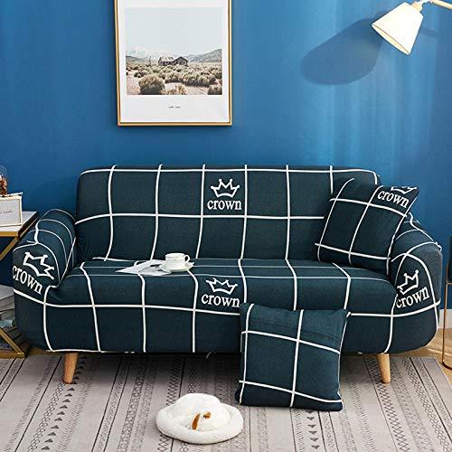 BSZHCT Funda elástica para sofá impresión Floral Poliéster Spandex con Cuerda de Fijación Antideslizante Lavable Antiácaros Funda de sofá Azul 3 Piezas: 195-230cm