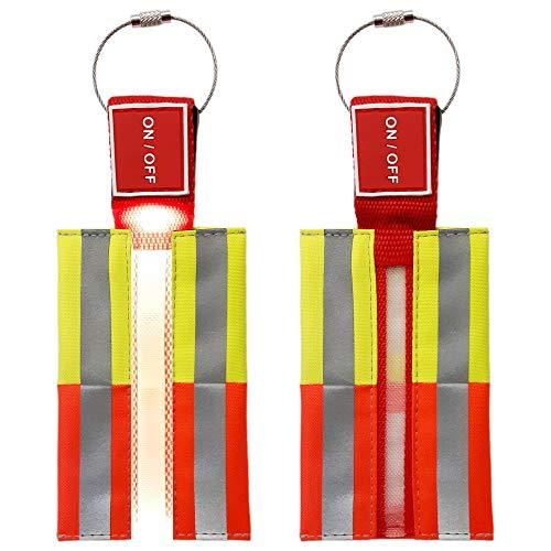 2 Stück LED Sicherheitslicht Reflektor Blinklicht für Schultaschen, Schulranzen, Rucksäcke und den sicheren Schulweg in der dunklen Jahreszeit