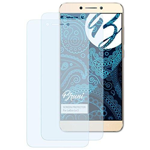 Bruni Schutzfolie kompatibel mit LeEco Le 2 Folie, glasklare Bildschirmschutzfolie (2X)