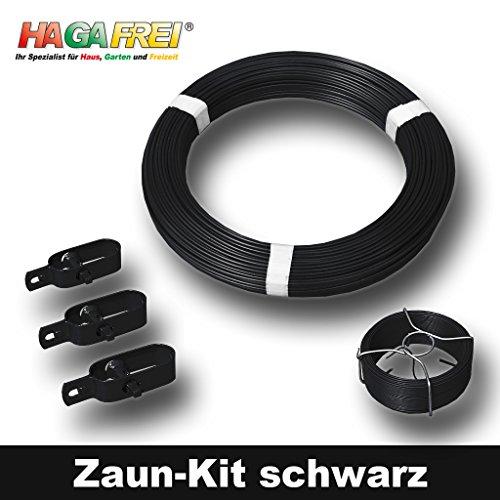 Zaun-Kit schwarz mit Ø 2,7mm Spanndraht für 25m Maschendrahtzaun mit vorhandenen Pfosten