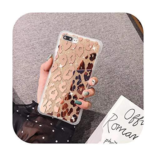 Phone cover Carcasa para iPhone 6Plus, diseño de leopardo con purpurina para iPhone 11, 12, Pro, Max, XR, Xs, Max 7, 6S, 8 Plus, X, para iPhone 11Pro.