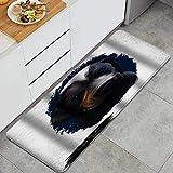 SUHETI Alfombra de Cocina,Retrato de Raza de Perro Cachorro Pointer Burgos de Animal doméstico de mamíferos Mastín Inglés Suave,Alfombrilla de Cocina Antideslizante Gruesa(45*120cm