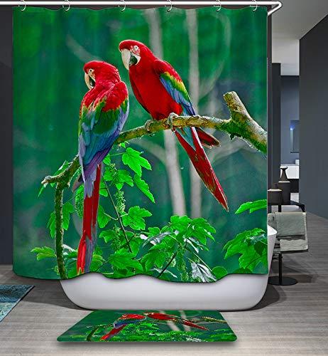 GoJeek Papageien-Duschvorhang, Vogelpaar, Baum, Natur, Dschungel-Thema, Badezimmer-Set (183 cm / 183 cm)