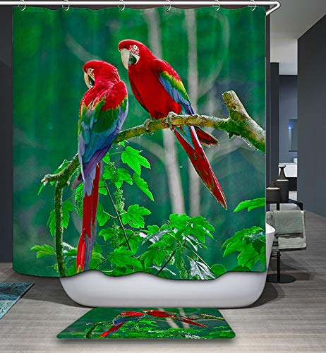 GoJeek Duschvorhang, Papageien-Motiv, für Paare, Vögel, Baum, Natur 72