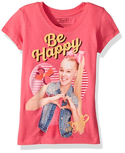 Jojo Siwa Girls' Little Happy Short Sleeve T-Shirt, hot Pink, 6X