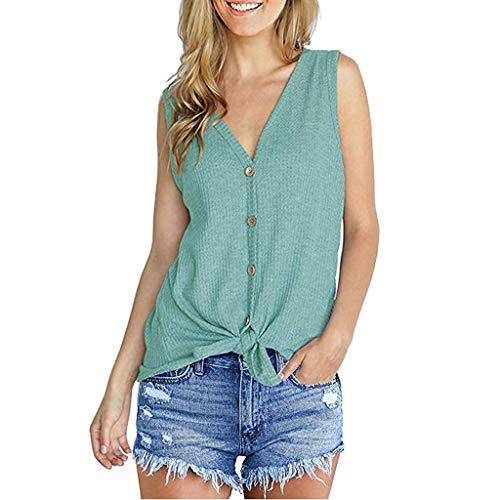 YUHUISTART Shirts Damen Frauen Mode Sommer Freizeit Weste Einfarbig V-Ausschnitt Taste Drehknoten Ärmellose Einfach Pulli Oberteile Hemd Blusen Tunika (Grün,EU-46/CN-M)