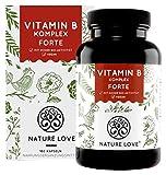 NATURE LOVE® Vitamin B Komplex Forte - Mit 500 µg Vitamin B12 pro Tagesdosis - 180 Kapseln (6...