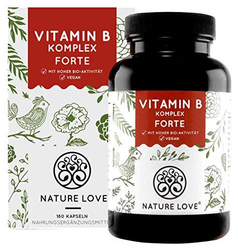NATURE LOVE® Vitamin B Komplex Forte - Mit 500 µg Vitamin B12 pro Tagesdosis - 180 Kapseln (6 Monate). Mit bio-aktiven Vitamin B Formen - bis zu 10-fach höher dosiert als andere Vitamin B Komplexe