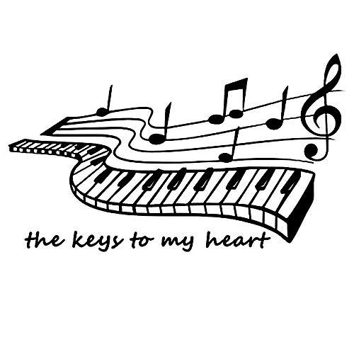 'The Keys to My Heart' Klavier Musik Noten Notation Band Wandtattoo Zitate Abnehmbare DIY Spruch Wandsticker Wandaufklebe für Kinder Schlafzimmer Wohnzimmer Ankleidezimmer (19 × 11 Zoll, Schwarz)