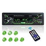 Aigoss Radio Coche Autoradio Bluetooth 1 DIN 60W x 4 FM Estéreo de Manos Libres Llamadas, Apoyo de Reproductor MP3 Luces de 5 Colores, Archivo y Control Remoto Inalámbrico