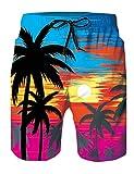 Rave on Friday Bañador Piña Negra Diseño Verano Surf Hawaiano Traje de Baño Pantalones Cortos para Hombre con Cordón Ajustable L