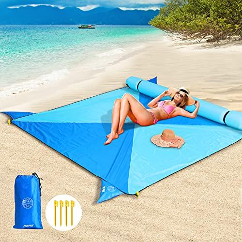 [NEU] Aerb Picknickdecke Stranddecke,mit Aufblasbares Kissen Abnehmbar,Übergroß Tragbar Stranddecke 205*205cm,Wasserdicht, Sanddicht,mit 2*Flicken,4*Festen Nägeln,für den Strand,Campen,Wandern