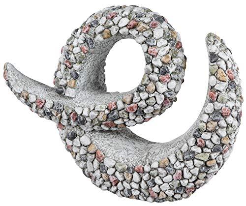 dekojohnson Moderne Deko für Garten-Skulptur aus Magnesia 44cm Groß mit Kieselsteinen verziert Stein-Farbe Gartenfigur abstrakte Gartendeko