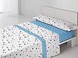 Antonella - Juego sábanas Sandra. Cama 105 cm. Azul