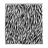 Orediy wasserdichte Duschvorhänge, Zebra-Muster, Polyester mit 12 Haken, Badezimmer-Dekoration, 168 x 183 cm