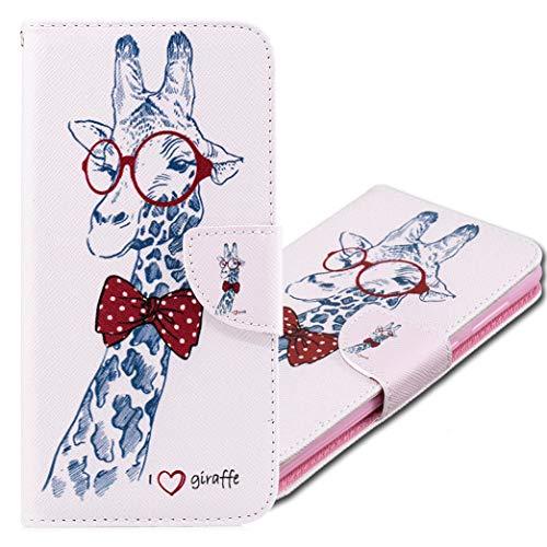 MRSTER Funda Xiaomi Mi A2 Lite, PU Cuero Flip Folio Carcasa [Kickstand] [Ranura para Tarjeta] [Cierre magnético] para Xiaomi Mi A2 Lite. BF Giraffe
