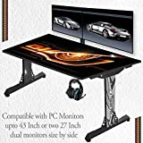 """Can be used as a Gaming Desk, Working Desk, Study Table, Laptop Table & PC Table. (NOT A STICKER) Theme based Direct ceramic print on table top. U.V. coated water and scratch resistance. Compatible with monitor up to 42"""" & full tower PC cabinet Power..."""