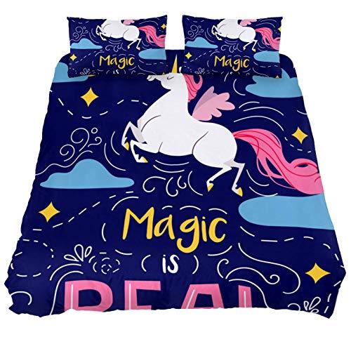 Juego de funda de edredón de 3 piezas, tela 100% natural, diseño de unicornio mágico con cierre de cremallera.