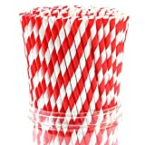 Nilzone Paper Drinking Straws For Wedding Birthday Party Supplies 100 Pcs (Straw 8 mm)