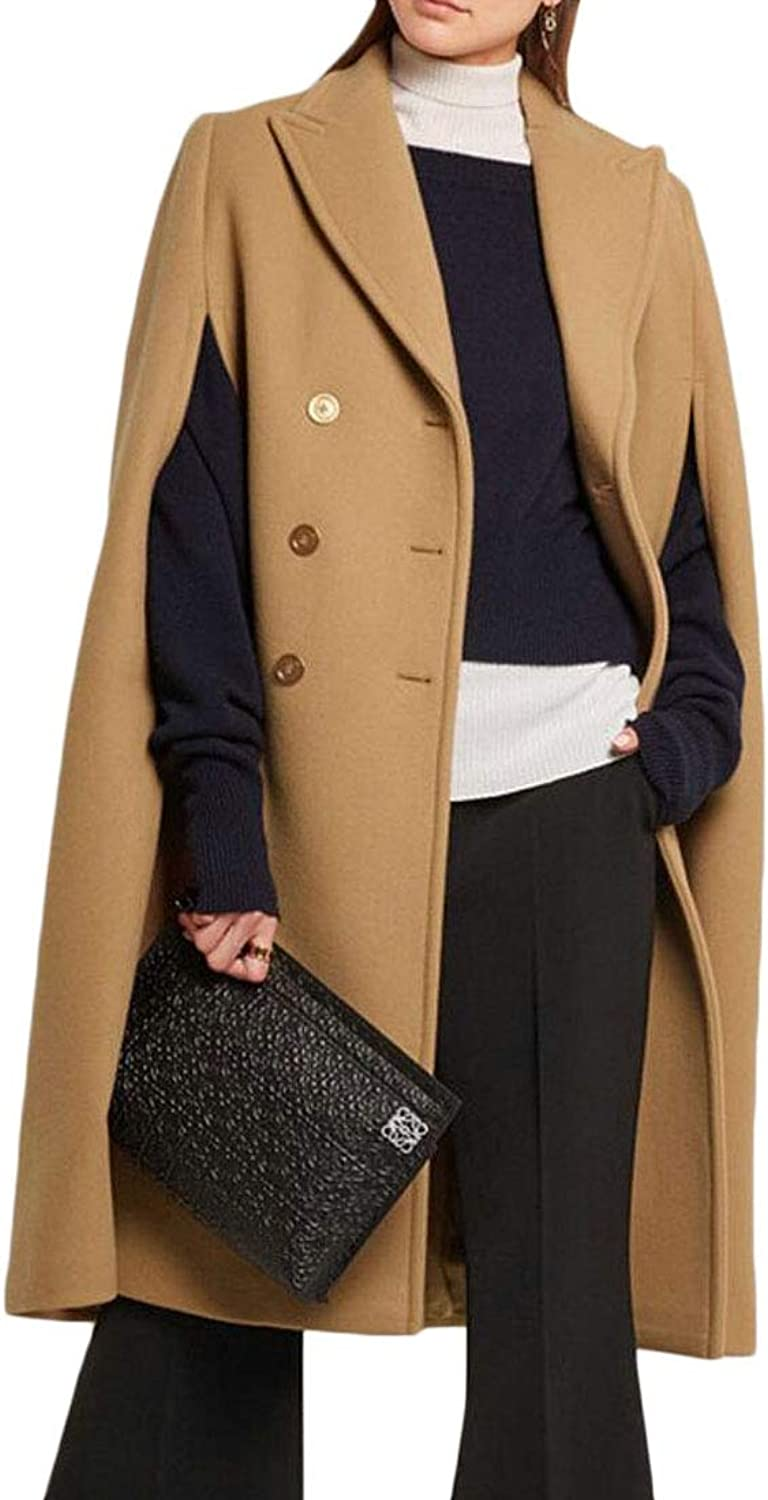 Generic Women's Winter Lapel Double Breasted Woolen Trench Pea Coat Poncho